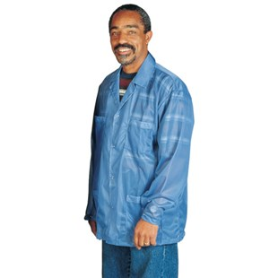 Desco 73740 Blue Unisex ESD-Shielding Jacket with Snap Cuffs, 2X-Large