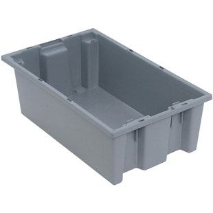 """Quantum Storage Systems SNT180 Stack and Nest Tote, Grey, 18"""" x 11"""" x 6"""""""