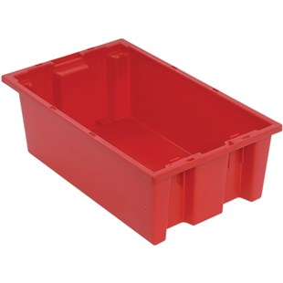 """Quantum Storage Systems SNT180 Stack and Nest Tote, Red, 18"""" x 11"""" x 6"""""""
