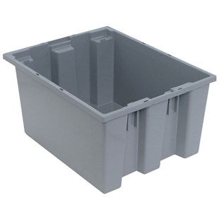"Quantum Storage Systems SNT190 Stack and Nest Totes, Grey, 19-1/2"" x 15-1/2"" x 10"""