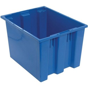 "Quantum Storage Systems SNT195 Stack and Nest Totes, Blue, 19-1/2"" x 15-1/2"" x 13"""