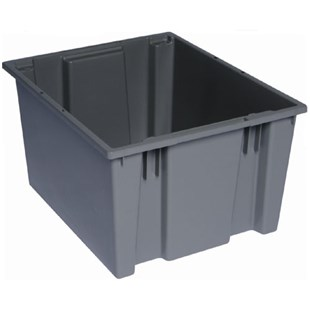 "Quantum Storage Systems SNT195 Stack and Nest Totes, Grey, 19-1/2"" x 15-1/2"" x 13"""