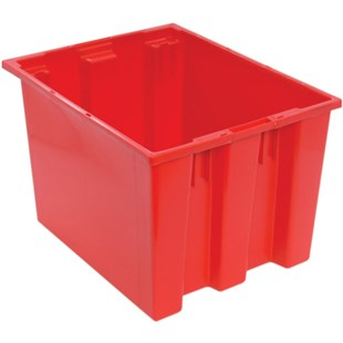 "Quantum Storage Systems SNT195 Stack and Nest Totes, Red, 19-1/2"" x 15-1/2"" x 13"""