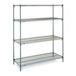 "Metro A566C Four Shelf Stationary Wire Shelving Unit, 24"" x 60"""