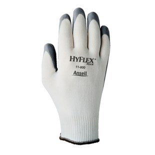 Ansell-Edmont 11-800-8 HyFlex® Assembly Gloves with Nitrile Grip, White/Gray, Medium, 12 Pairs/Pkg
