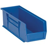 "Quantum Storage Systems QUS234 Parts Bin, Blue, OD 14-3/4"" x 5-1/2"" x 5"""