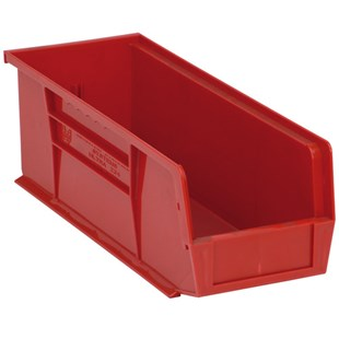 "Quantum Storage Systems QUS234 Parts Bin, Red, OD 14-3/4"" x 5-1/2"" x 5"""