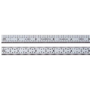"Starrett C305R-6 Full Flexible Steel Rule with Inch Graduations, 5R Style Graduations, 6"" Length, 1/2"" Width, 1/64"" Thickness"