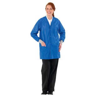 Worklon 3500 Static Dissipative Unisex Short Coat w/esd cuffs, V-Neck, Royal Blue, Large