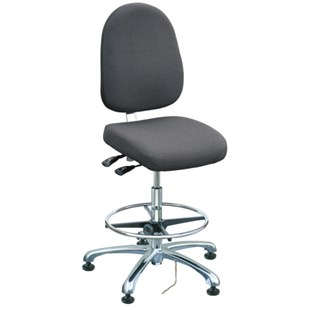 "Bevco 9351L-E Integra Series Ergonomic Static-Safe Chair w/Tilt Seat and Large Back, Grey Fabric, 19"" - 28-1/2"""