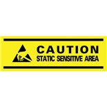 "Desco 81800 Caution Static Sensitive Area Aisle Marking Tape, 3"" x 54'"