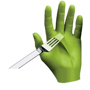 Showa 7705PFT-10 N-DEX® Free Green Nitrile Gloves - Textured Fingertips, X-Large, 100/Box