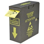 "Desco 06735 ESD Attention Labels, 2 x 2"", 1000/Roll with Dispenser Box"