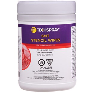 "Techspray 1608-100DSP 70% Isopropyl Alcohol (IPA) & 30% DI Water Wipes, 5"" x 8"" 100/Canister"