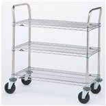 "Metro 3SPN53DC 3 Shelf Wire Utility Cart, 24"" x 36"" x 39"""