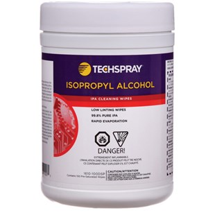 Techspray 1610-100DSP Isopropyl Alcohol (IPA) Wipes - 99+%, 100ct disposable tub