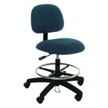 "Industrial Seating 50-DF ESD-Safe Chair, Blue Fabric, Adjustable Height 19"" - 27"""