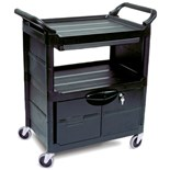 "Rubbermaid 3457 Utility Cart with Lockable Doors, Sliding Drawer, 33-5/8"" L x 18-5/8"" W x 37-3/4"" H"