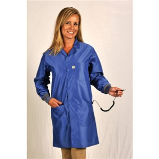 Tech Wear LIC-43C Static Dissipative Knee Length Coat with Cuffs, Royal Blue, X-Large