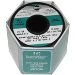 Kester 2470681405 Solder Wire, Rosin Core, Lead Free, Sn96.5Ag03Cu.5, 3.3%, 0.040 in (1.00 mm), 48 Series
