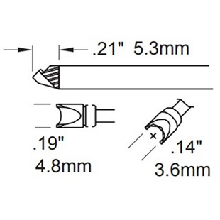Metcal STTC-097 TIP, SPECIAL GROOVED, SE MI-RIGID COAX
