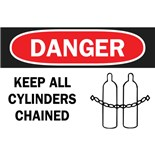 Brady 25910 Keep All Cylinders Chained Plastic Sign