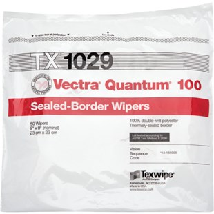 "Texwipe TX1029 Vectra® Quantum® 100 Double-Kint Polyester Wipers, 9"" x 9"", 100/Bag"