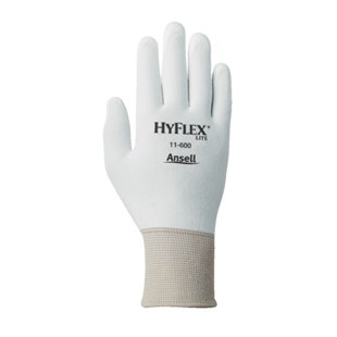 Ansell-Edmont 11-600-10 HyFlex®  Assembly Gloves with Polyurethane Grip, White/White, X-Large, 12 Pairs/Pkg.