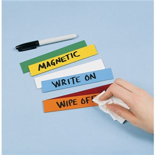 """Brady 56957 Reusable Magnetic Label, Cut to Size, with Water-Soluble Marker, Blue, 1"""" x 50'"""