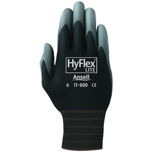 Ansell-Edmont 11-600-7 HyFlex® LAssembly Gloves with Polyurethane Grip, Black/Gray, Small, 12 Pairs/Pkg.