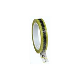 """Desco 79276 Antistatic Cellulose Tape, Clear with ESD Symbols and Yellow Stripe, 3/4"""" W x 72 Yards with 3"""" Core"""