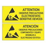 Desco 06750 Static Sensitive Area Warning Sign, Bilingual 2-Sided