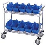 Quantum Storage Systems Mobile Wire Cart with 10 Blue Bins