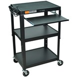 "Luxor AVJ42KB Adjustable Height Cart with Pullout Tray, 18"" x 24"" x 42"""
