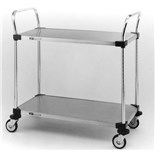 """Metro MW108 Utility Cart with Two Stainless Steel Solid Shelves, 24"""" x 36"""" x 39"""""""