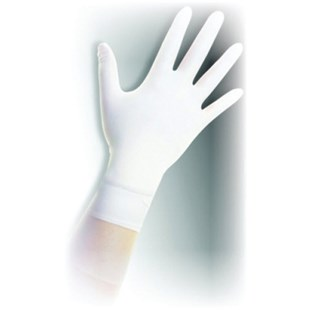 "QRP Q125 Class 100 (ISO 5) Qualatrile XC White Nitrile 12"" Gloves, Small, 100/Bag"