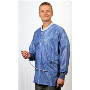 Tech Wear X2-HOJ-23C-L ESD-Safe Jacket with Cuffs and Dual Wire Snaps, Blue, Large