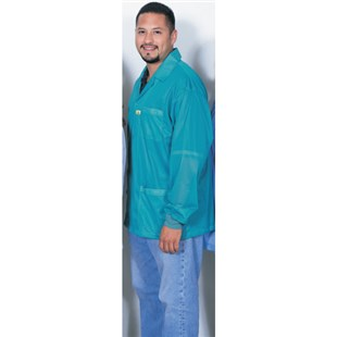 Desco 73854 Teal ESD Shielding Jacket with Cuffs, X-Large