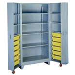 "Lyon 1127 Four-Shelf Storage Cabinet with 12 Bins, 39"" W x 27"" D x 76"" H"