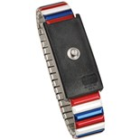 Desco 09200 Red/White/Blue Metal Adjustable Wrist Strap, 4mm Stud