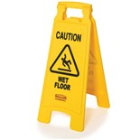 "Rubbermaid 6112-77 Floor Sign with ""Caution Wet Floor"", 2-Sided"