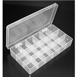 "Dewitt Plastics C2726-A Polypropylene Parts Box with 18 Compartments, 8"" x 4-1/8"" x 1-3/16"""