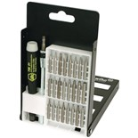 Wiha 75995 ESD Safe System 4 Precision Interchangeable MicroBit Set with Slotted/Phillips/TORX/5-Point Bits, 26 Piece