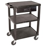 "Luxor WT34S-WTD Utility Equipment Cart with Storage Drawer, 18"" x 24"" x 34"""