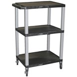 "Luxor WT42E-N Utility Cart with 3-Outlet Electrical Assembly, 24"" x 24"" x42"""