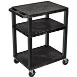 "Luxor WT34E Utility Equipment Cart with 3-Outlets, 18"" x 24"" x 34"""