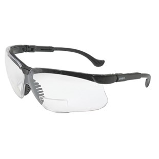 Uvex S3762 Genesis® Bifocal Magnifier Safety Glasses with Black Frame & Clear Lens, Magnification +2.0