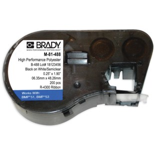 """Brady M-81-488 MSERIES High Performance Polyester Labels, 1.9"""" x .25"""" Black on White/Semiclear"""