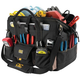 """Custom Leather Craft 1535 18"""" Tool Bag with 37 Pockets & Plastic Parts Box"""