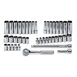 """SK Hand Tools 91844-12 41 Piece 1/4"""" Drive 12 Point Standard and Deep Fractional and Metric Socket Set"""